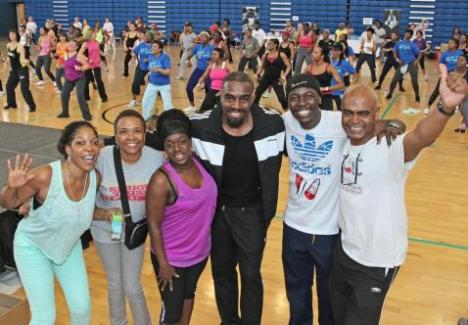 (L-R) Comedienne Jocelyn Esien, Beverley De-Gale, Actress Tameka Empson, Actor Chucky Venn, Comedian Eddie Kadi & Orin Lewis — with Jocelyn Jee Esien at Crystal Palace National Sports Centre